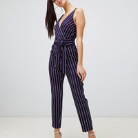 ASOS DESIGN wrap jumpsuit with self belt in navy stripe | ASOS