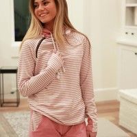 Double Hooded Mauve Stripe Sweatshirt