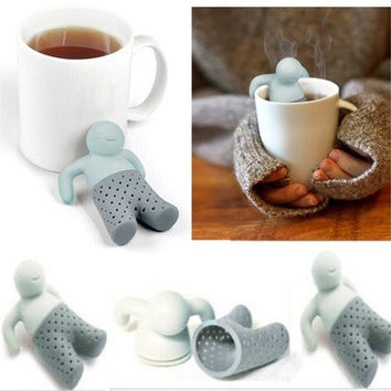 Cute Little Man Tea Leaf Strainer Filter Silicon Herbal Spice Infuser Diffuser (Size: 1) [8045606087]