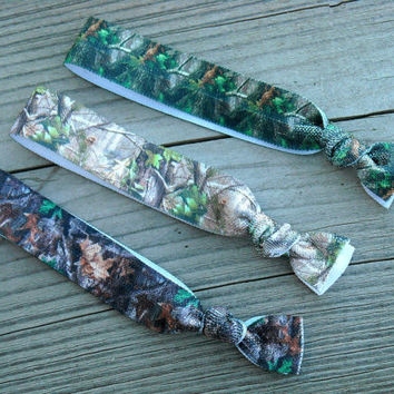 Green and Brown Camo Elastic Hair Ties Hunting Camouflage Hair Rubber Bands Hair Rubberbands Southern Country Girl Hunter Realtree Mossy Oak