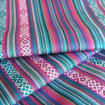 South American Fabric, Peruvian Fabric, Woven, Pink Turquoise Cruza Stripes, 1 Yard