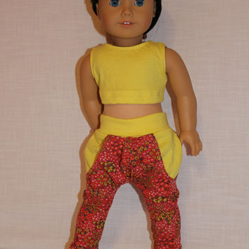 18 inch doll clothes floral Harem, dance, yoga pants ,yellow crop tank  top, american girl, maplelea