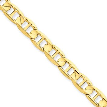 Men's 6.25mm, 14k Yellow Gold, Concave Anchor Chain Necklace, 18 Inch