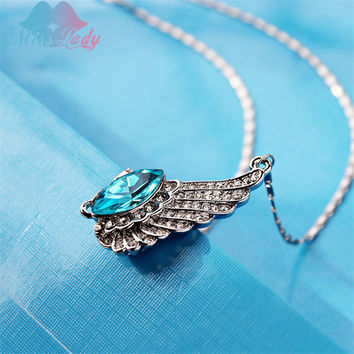 Miss Lady European style crystal statement necklaces pendants fashion jewelry Angel Wings Crystal Necklace  tears wings MLYHY375