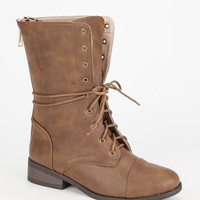 Qupid Plateau Womens Boots Taupe  In Sizes