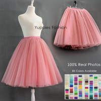 Custom-made 7 Layer Maxi Long Tutu Tulle Skirts Womens Full Skirt Vintage American Apparel Lolita Petticoat Faldas Saias Jupe