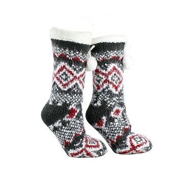 Women's Snow Falls Shea Butter Infused Lounge Socks One Size Fits Most Red By MinxNY
