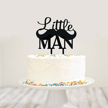Black Little Man Cursive Block Letter Mustache Birthday Baby Shower Cake Topper