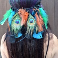 Peacock Feather Headband #B1047