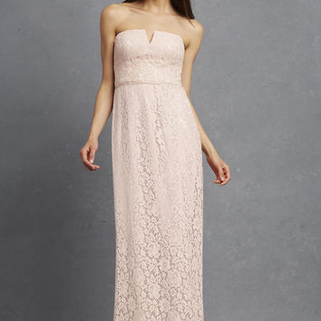 Reese by Donna Morgan Strapless Notched Long Lace Dress