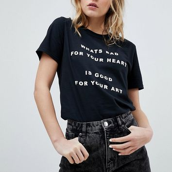 Adolescent Clothing Valentines T-Shirt With Bad Heart Good Art Slogan at asos.com