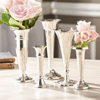 Set of 5 Plaza Silver Vases design by Twos Company – BURKE DECOR