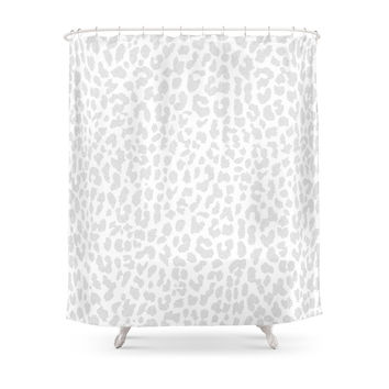 Society6 Pale Gray Leopard Shower Curtain
