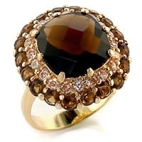 Stunning Smoked Topaz CZ Gold Cocktail Ring