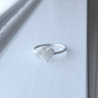sterling silver large heart thumb stacking ring