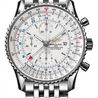 Lussotime - Breitling Navitimer World Men's Stainless Steel Watch White Dial 110 -