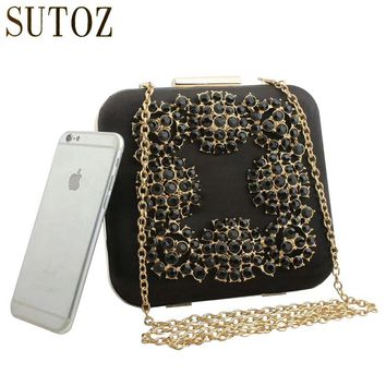 Vintage Style Crystal Evening Bags Diamond-Studded Lady Day Clutch Silk Women Messenger Bags Luxury Handbags Party Bag Purse