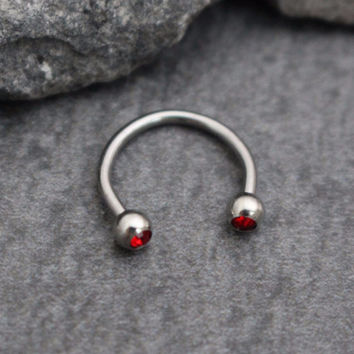 Horseshoe Barbell with Red Crystals