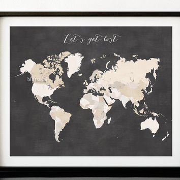 "Printable world map with countries, distressed travel quote print, ""let's get lost"" chalkboard printable map, travel pinboard map - map138"