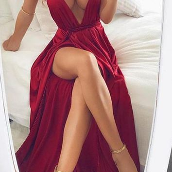 Stunning Red Spaghetti Straps V Neck With Split Side Prom Dress G2950