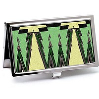 Art Deco Green Business Card Case in Vintage Style