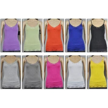 Women's Camisoles with Lace Trim - Assorted Colors