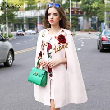 Pink Embroidery Flower Women Autumn Cloak Mini Dress And Cashmere Overcoats Woolen T Suit 3D Sequined Rose Shawl