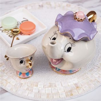 Cartoon Beauty And The Beast Tea Set Teapot Cup Mrs Potts Chip Bela E A Fera Pot Mug Kettle Milk Coffee Creative Gift With Logo