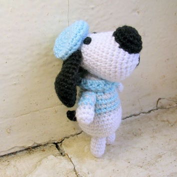 Amigurumi crochet dog in the gray-blue sweater and blue berets in the French style, amigurumi dog, miniature dog, crochet dog