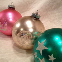 Large Shiny Brite Trio in Pink, Green and Gold Silent Night 50s