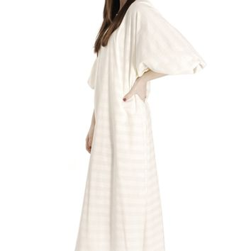 Vintage Vuokko Horizontal Striped Gown Balloon Sleeves Dress Sz S White & Cream  1970s