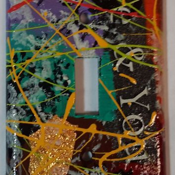Hand Painted #4 Light Switch Cover