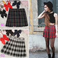 2016 HOT SALE Women Skirts Uniform Preppy Style A Line Tennis Mini Skirt High Waist Pleated Short Plaid Skirts Saias