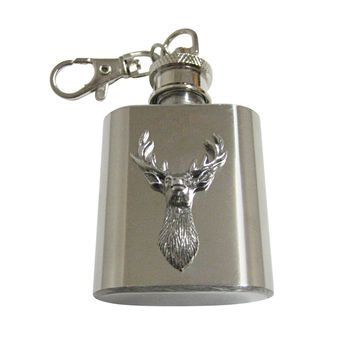 Silver Toned Textured Stag Deer Head 1 Oz. Stainless Steel Key Chain Flask