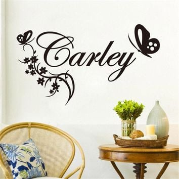 Wall Decal Butterylies flower Personalised Name Vinyl Wall Sticker Name Custom Baby Girls Bedroom Art Wall Decal Kids RoomYM-135