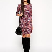 ASOS Swing Dress in Diamond Paisley Print