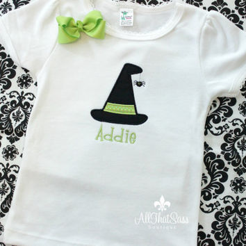 Girls Halloween Shirt - Baby Girls Bodysuit with Bow - Witch Hat  - Spider - Embroidered - Personalized - Monogrammed - Green - Black - Fall
