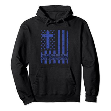 Stand For The American Flag - Kneel For The Cross Hoodie