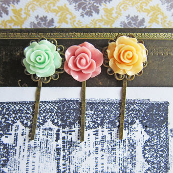 Flower Hair Pins Spring Colors Summer Exotic Bobby Pins Set of 3 Floral Hair Pins Hair Pins Orange Peach Pastel Pink Mint Green