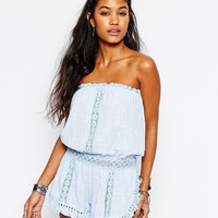 Surf Gypsy Gauze Fringe Trim Strappless Beach romper at asos.com