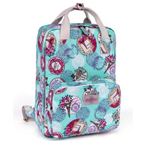Women's Flower Printed Canvas Laptop Backpack School Bookbag Travel Daypack