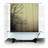 A Gathering of Fog - Fabric Shower Curtain  - Original Photograpy by RDelean Designs, blue, sky, sparkle, rain, raindrops, shower, nature
