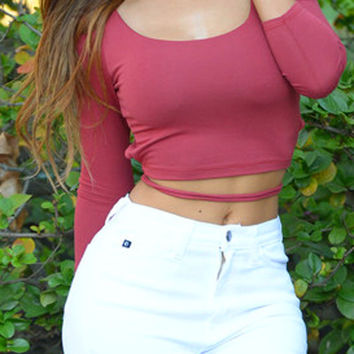 Red Laced Backless 3/4 Sleeve Crop Top