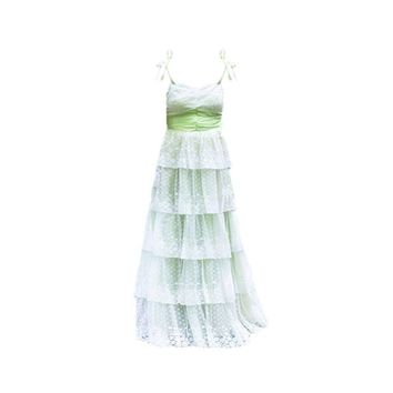 Vintage 1970s Southern Belle Dress, Green with White Lace, Spaghetti Straps