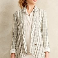 Promenade Checkered Blazer by Greylin Neutral