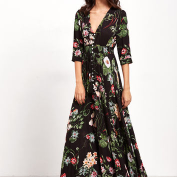 Black V-Neck Button Front Floral Maxi Dress