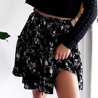 Floral Print Black Skirts Women Casual Sexy Ruffles Short Skirts High Waist Boho Skirts