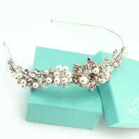 Wedding Hair band Rhinestone Flowers Swarovski Pearl and Crystal Bridal tiara Wedding Jewelry Hair Accessory headband
