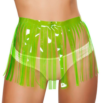 Lime Vinyl Fringe Skirt