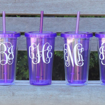 Monogrammed tumbler, party tumbler, wedding decor, bachelorette gifts, water tumbler, personalized cup